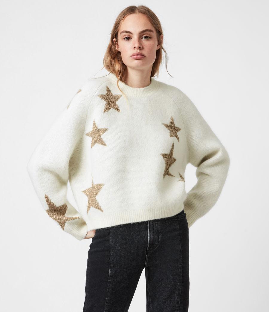 Womens Star Sweater (ivory_gold) - Image 4