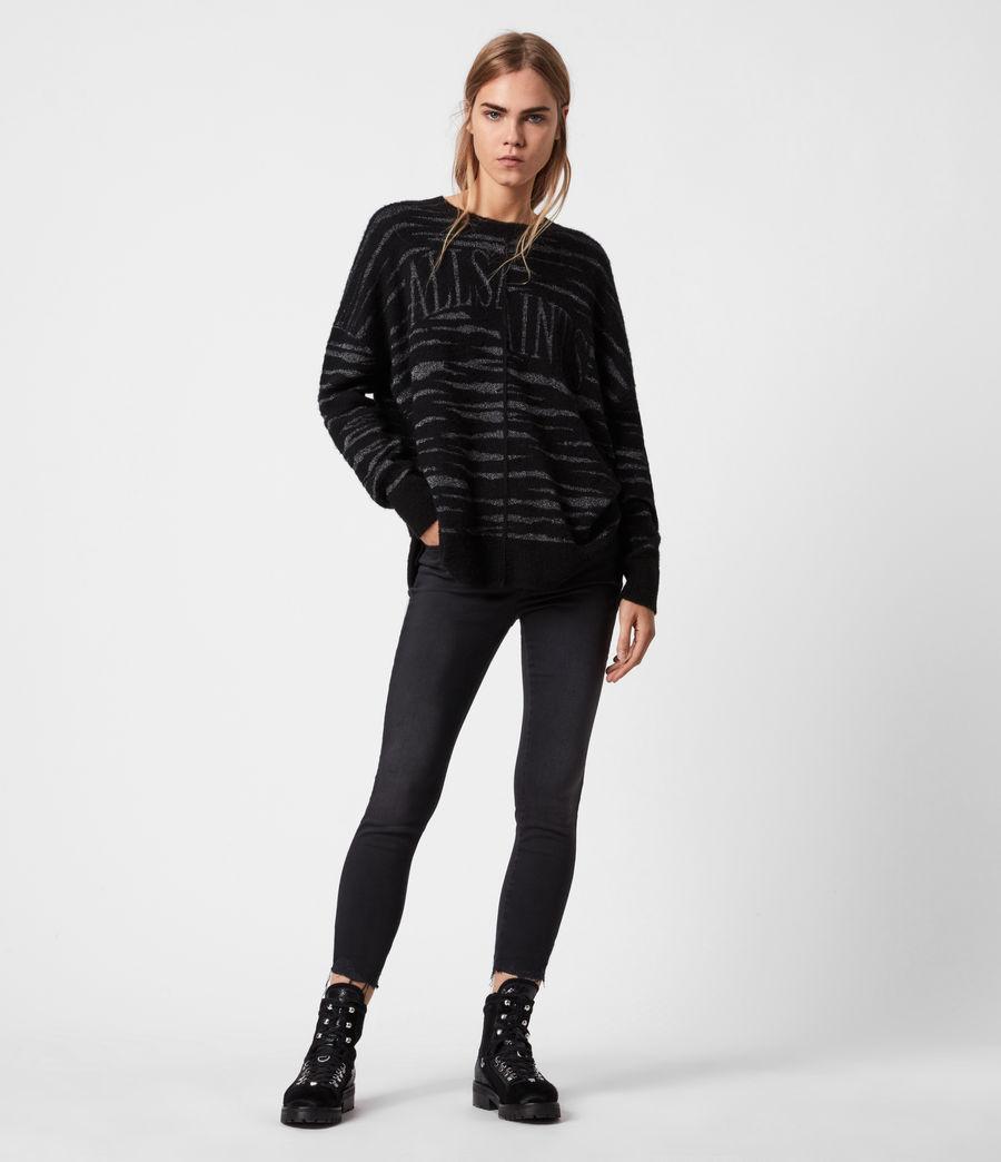 Womens Split Saints Tiger Sweater (black_silver) - Image 4