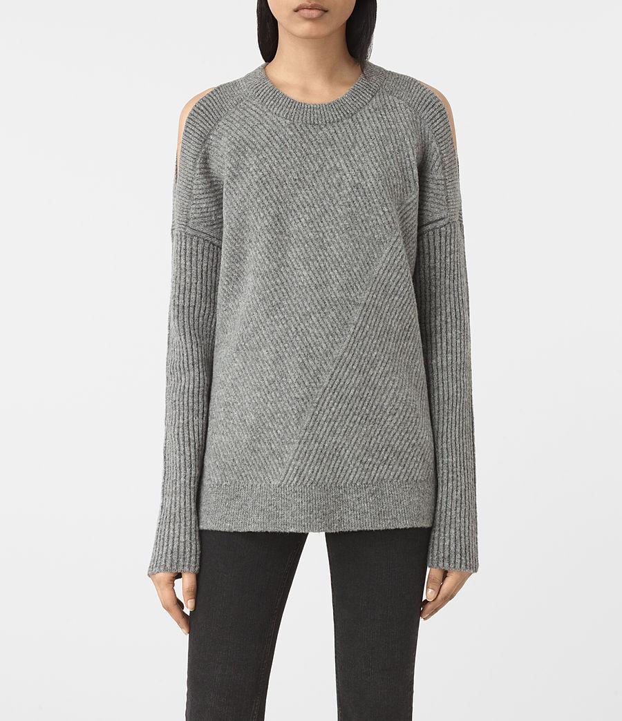 Womens Terra Open Shoulder Sweater (grey_marl) - Image 1