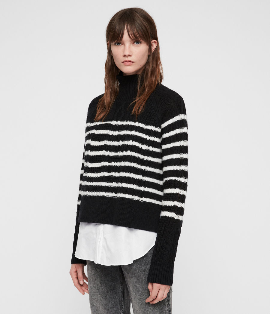 Womens Mari Roll Neck Sweater (black_chalk) - Image 4