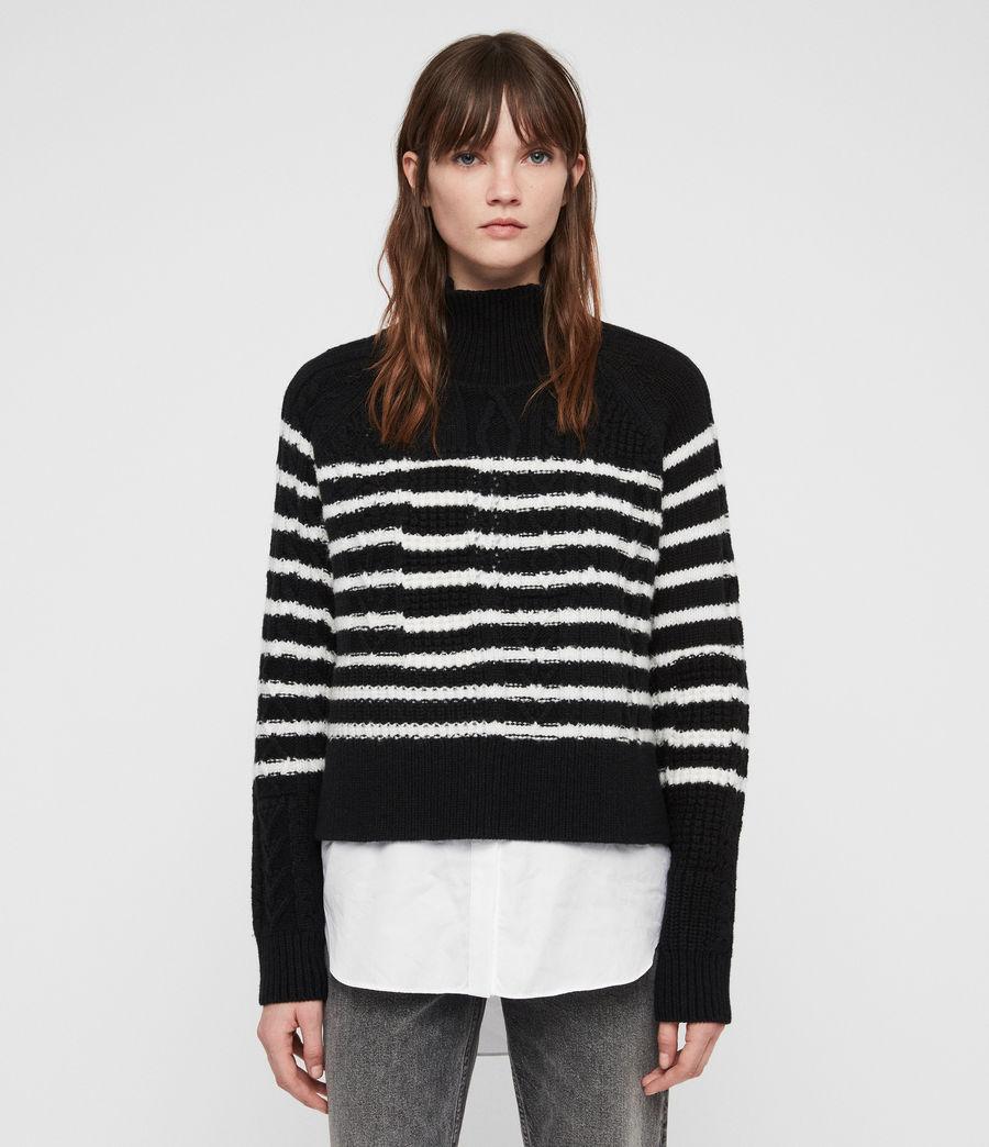 Womens Mari Roll Neck Sweater (black_chalk) - Image 5