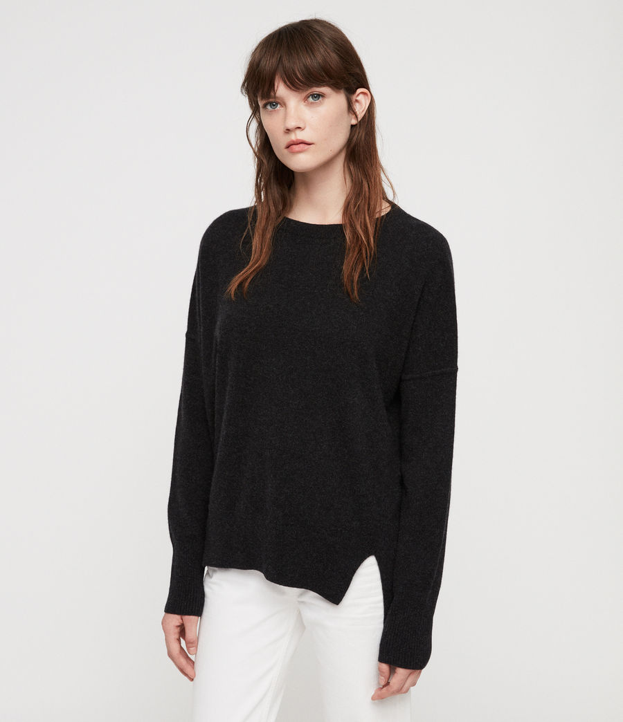 Women's Izzie Crew Neck Jumper (charcoal_grey_marl) - Image 1