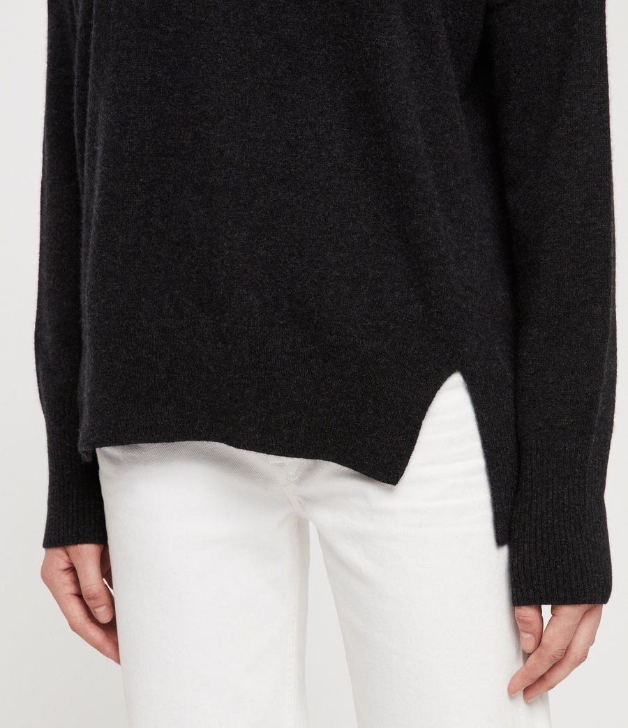 Women's Izzie Crew Neck Jumper (charcoal_grey_marl) - Image 2