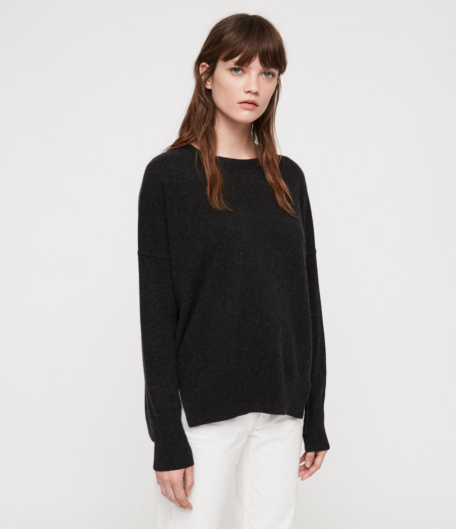 Women's Izzie Crew Neck Jumper (charcoal_grey_marl) - Image 3