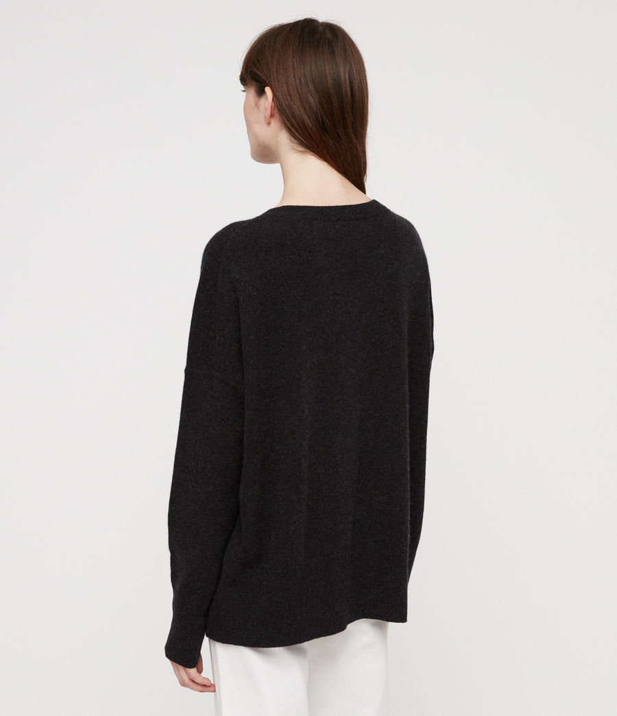 Women's Izzie Crew Neck Jumper (charcoal_grey_marl) - Image 4