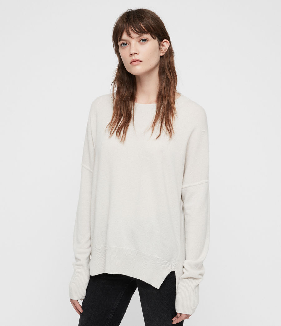 Women's Izzie Crew Neck Jumper (porcelain_white) - Image 1
