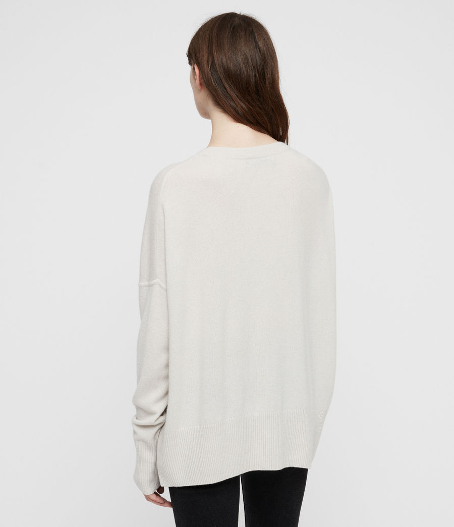 Women's Izzie Crew Neck Jumper (porcelain_white) - Image 5