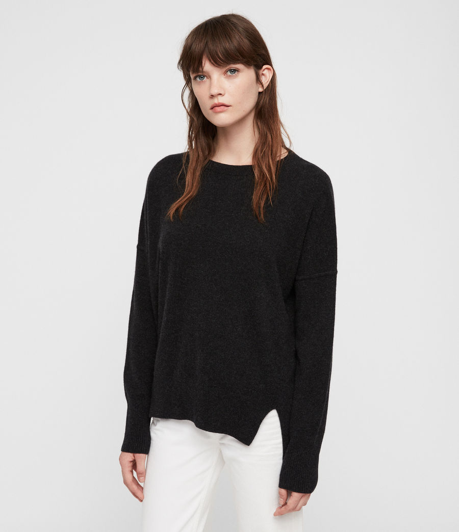 Womens Izzie Crew Neck Sweater (charcoal_grey_marl) - Image 1