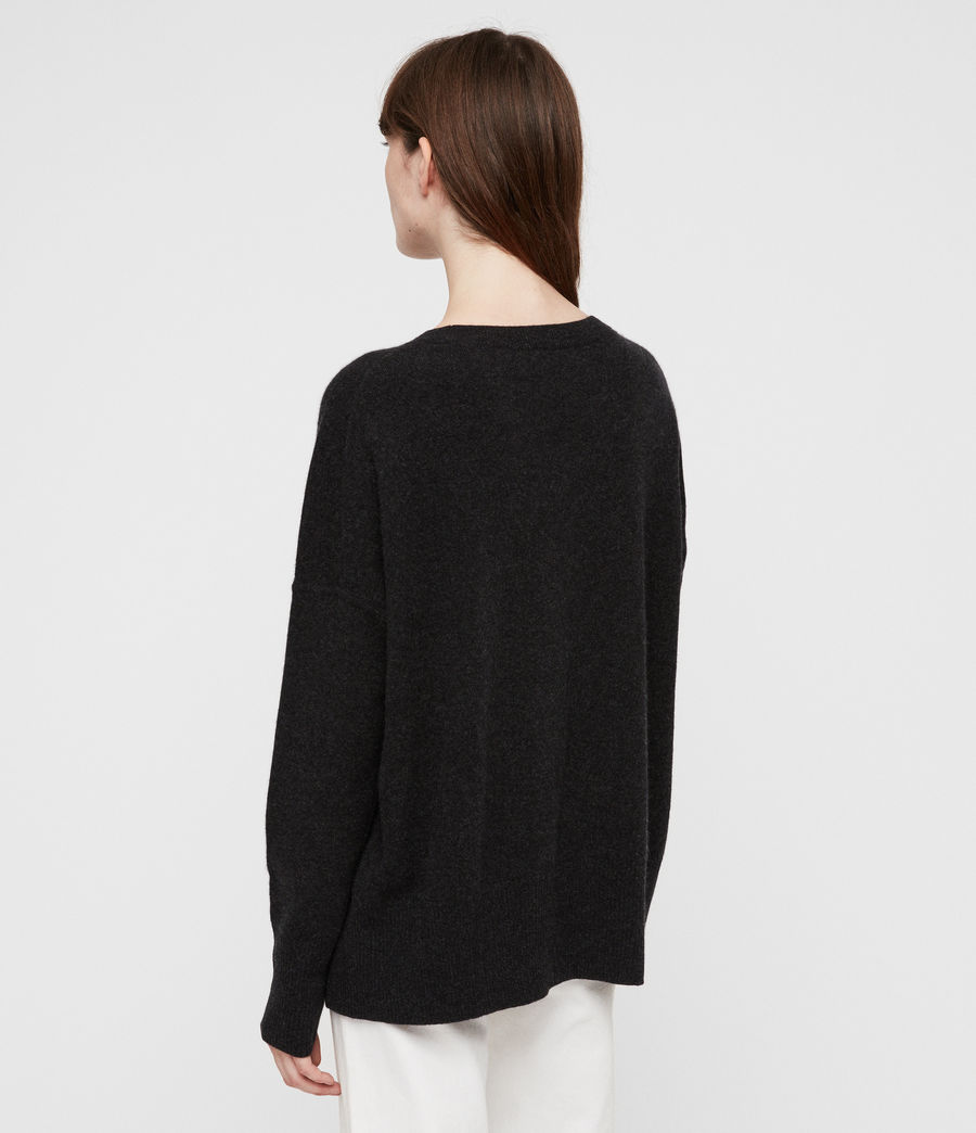 Womens Izzie Crew Neck Sweater (charcoal_grey_marl) - Image 4