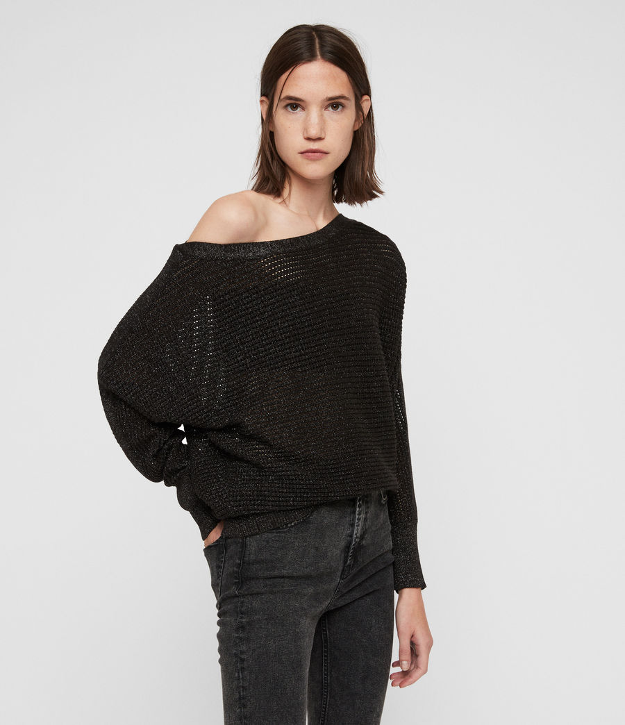 Womens Elle Metallic Sweater (black) - Image 1