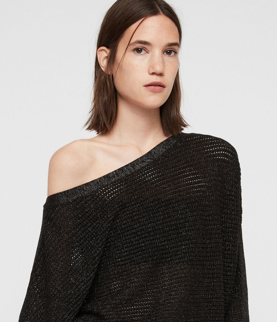 Womens Elle Metallic Sweater (black) - Image 2