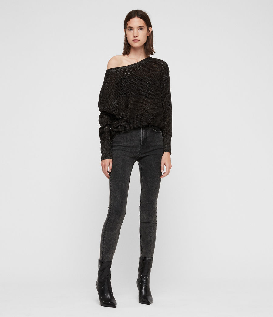 Womens Elle Metallic Sweater (black) - Image 3