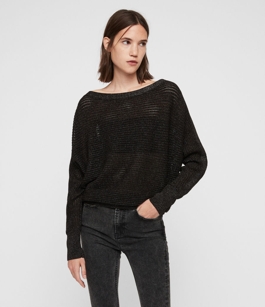 Womens Elle Metallic Sweater (black) - Image 4