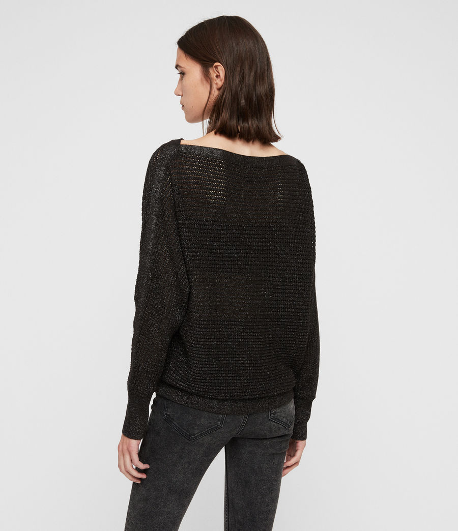 Womens Elle Metallic Sweater (black) - Image 5