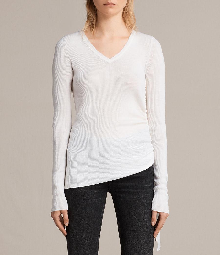 Femmes Pull Col V Vana (chalk_white) - Image 1