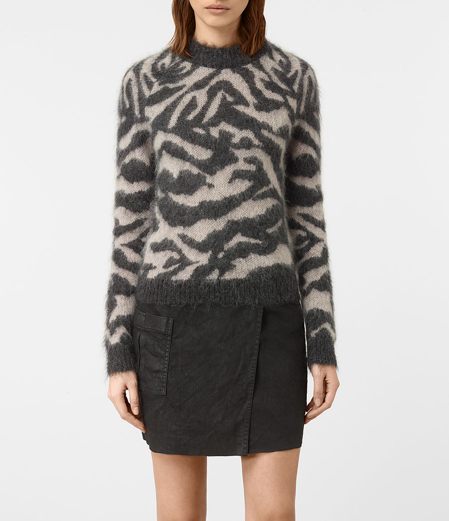 Mujer Quant Cropped Tiger Sweater (charcoal_grey) - Image 1