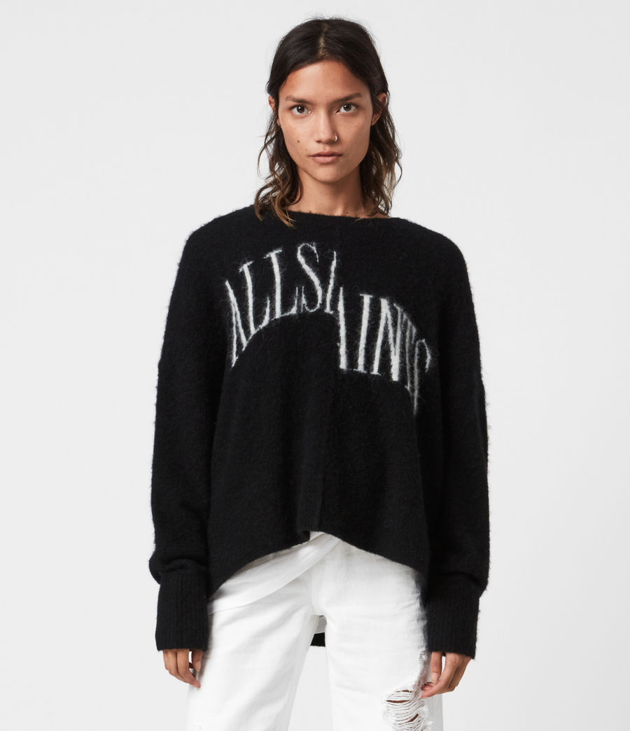 Womens Split Saint Crew Sweater (black_white) - Image 1