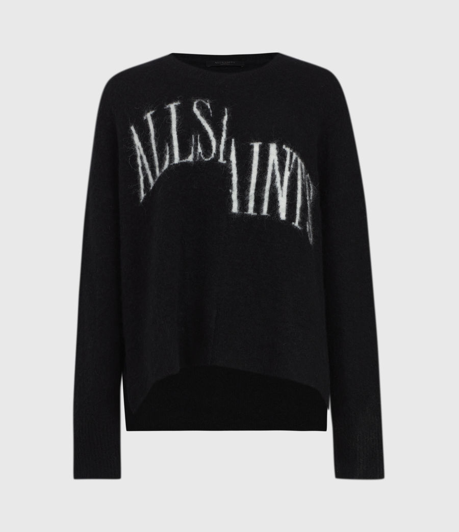 Womens Split Saint Crew Sweater (black_white) - Image 2