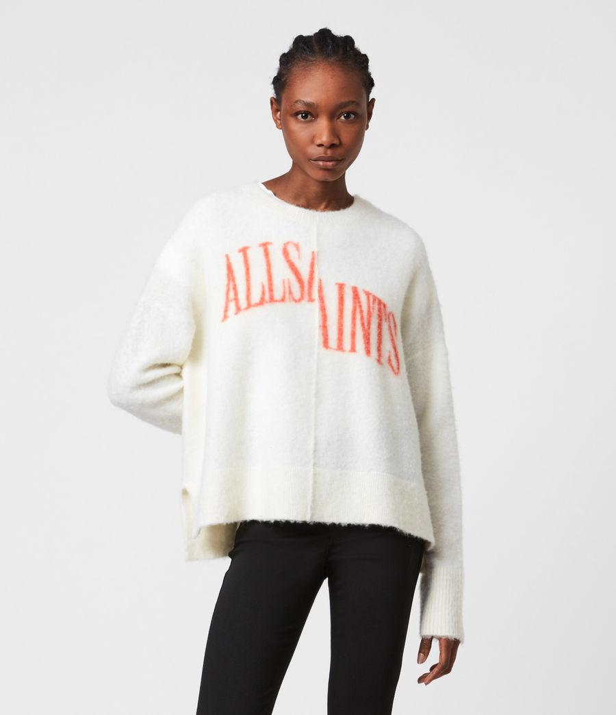Womens Split Saint Crew Sweater (chalk_white_red) - Image 1