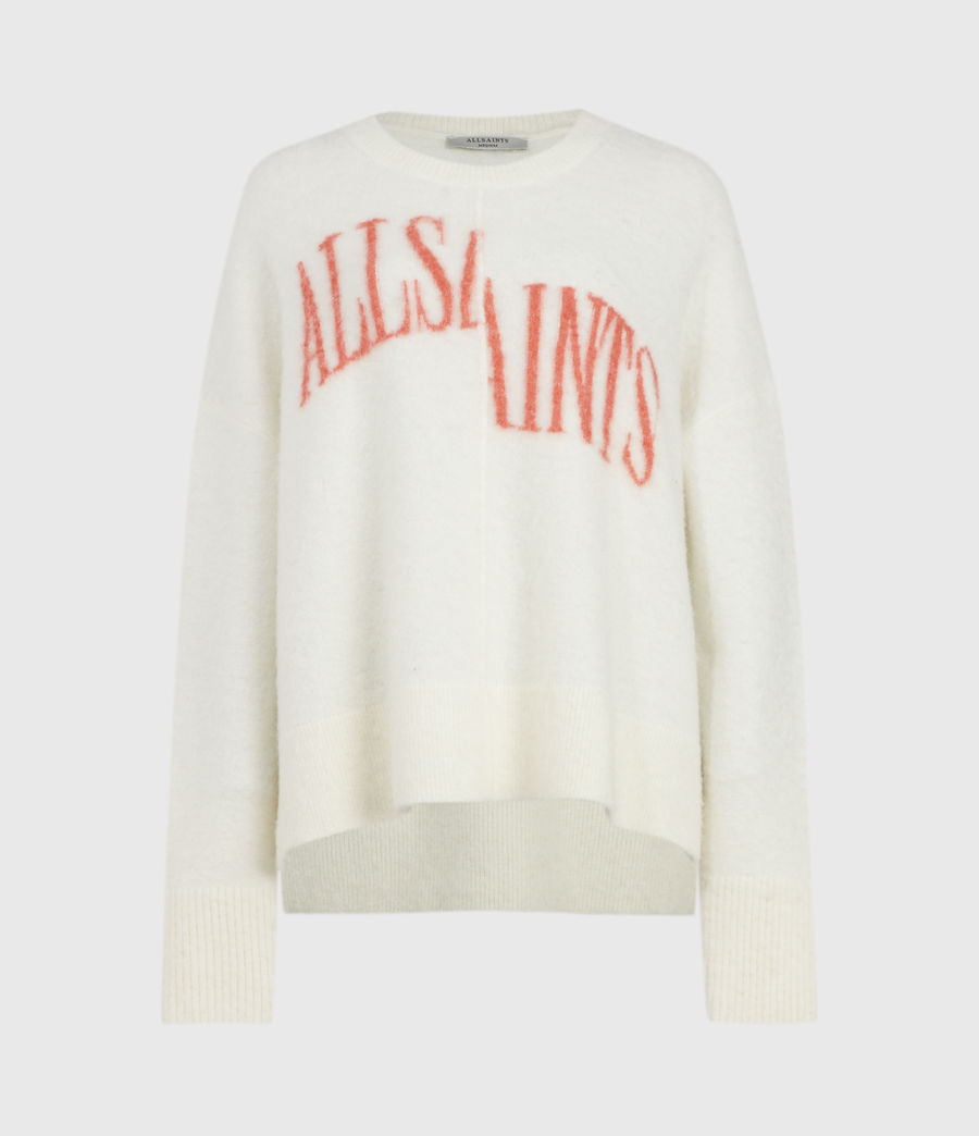 Womens Split Saint Crew Sweater (chalk_white_red) - Image 2