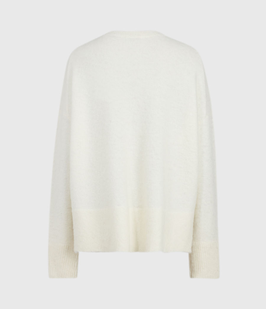 Womens Split Saint Crew Sweater (chalk_white_red) - Image 3