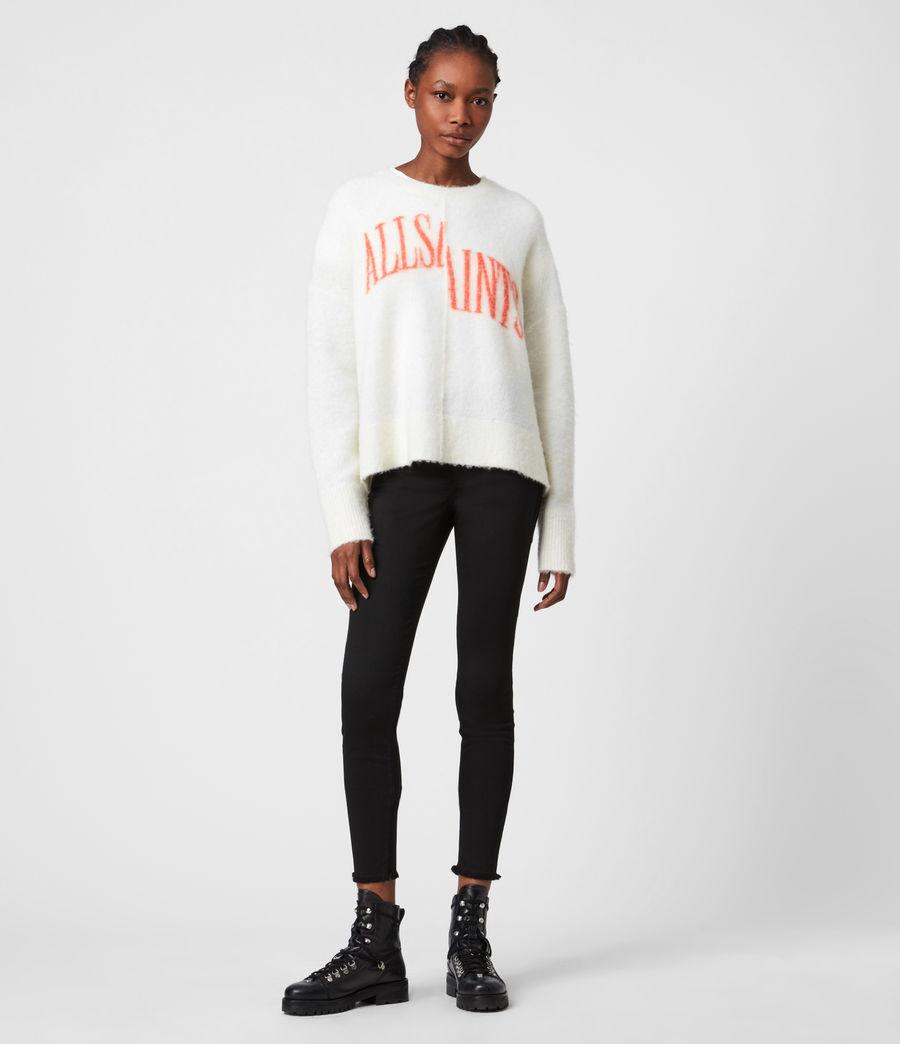 Womens Split Saint Crew Sweater (chalk_white_red) - Image 4