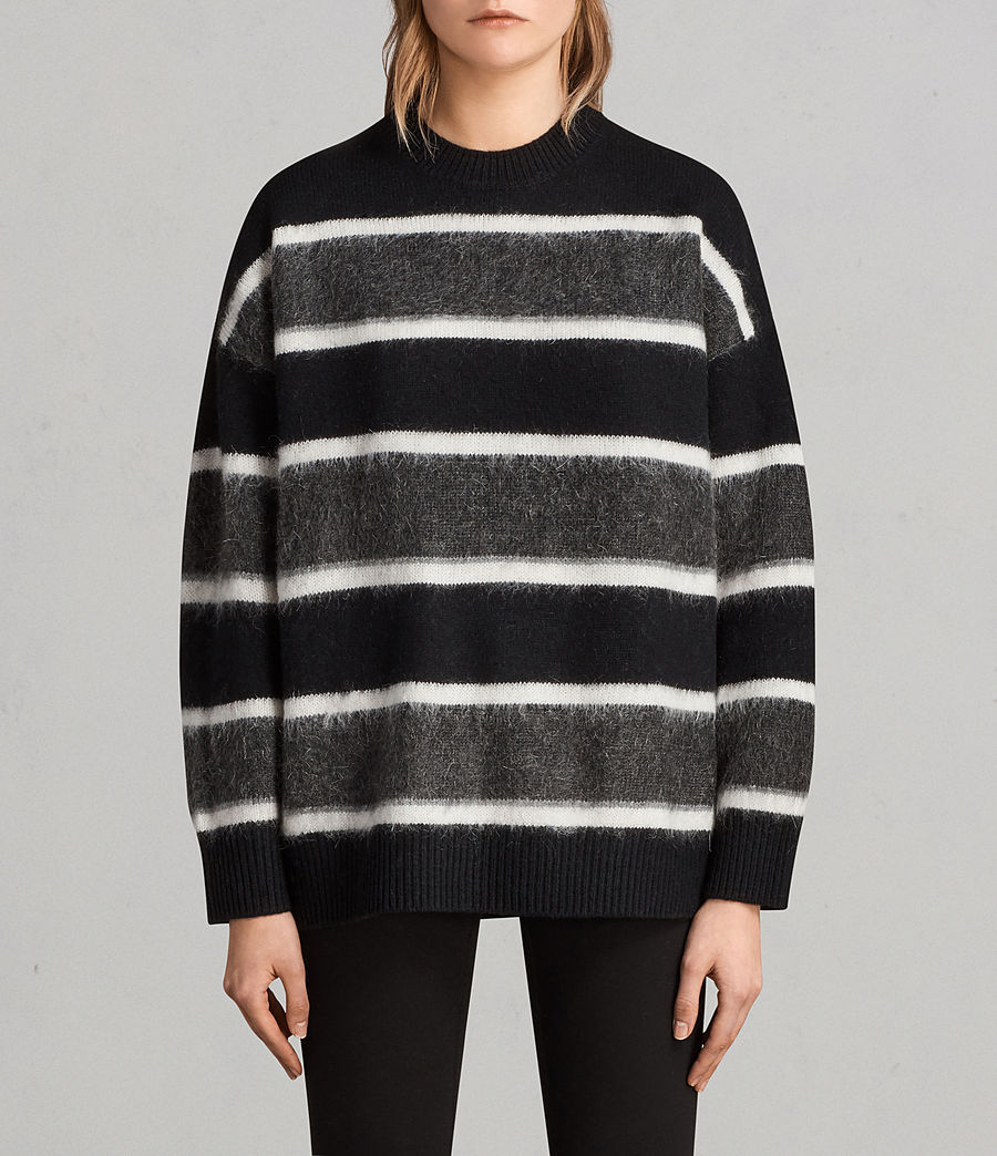 Womens Edi Crew Sweater (black_white) - Image 1
