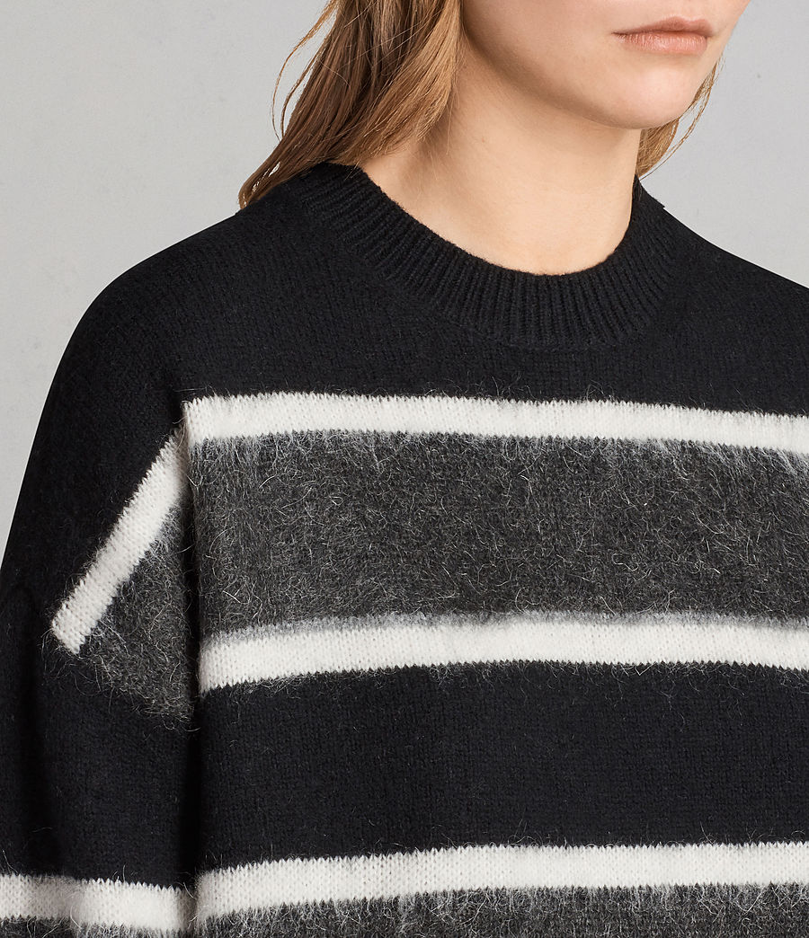 Womens Edi Crew Sweater (black_white) - Image 2