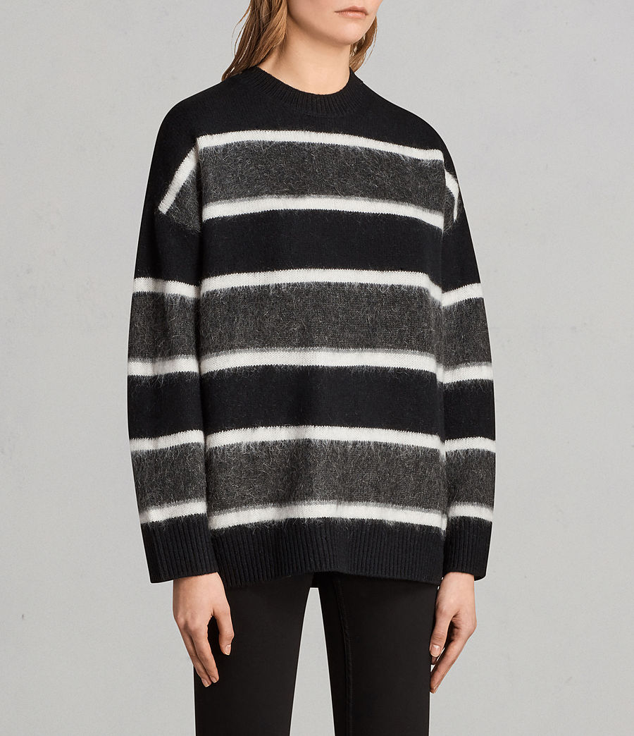 Womens Edi Crew Sweater (black_white) - Image 4