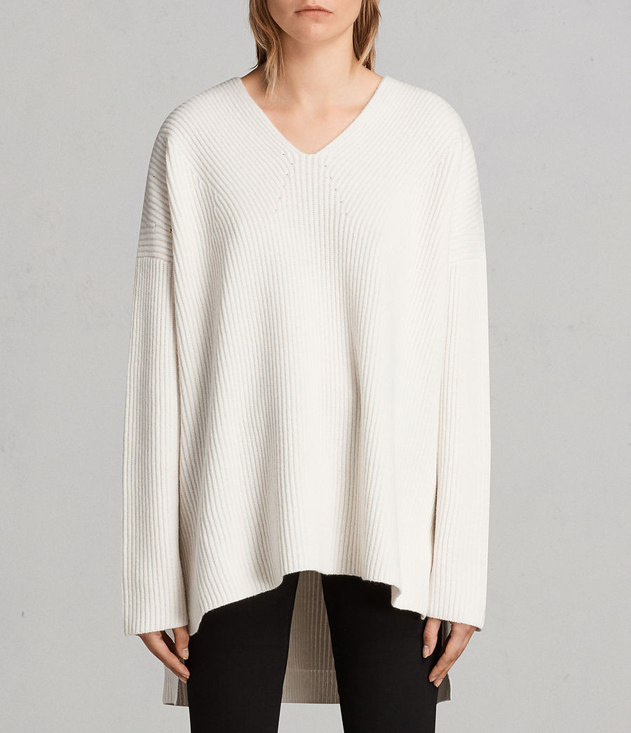 Womens Clea V-neck Sweater (chalk_white) - Image 1