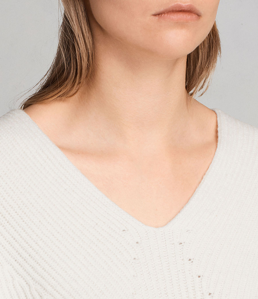 Womens Clea V-neck Sweater (chalk_white) - Image 3