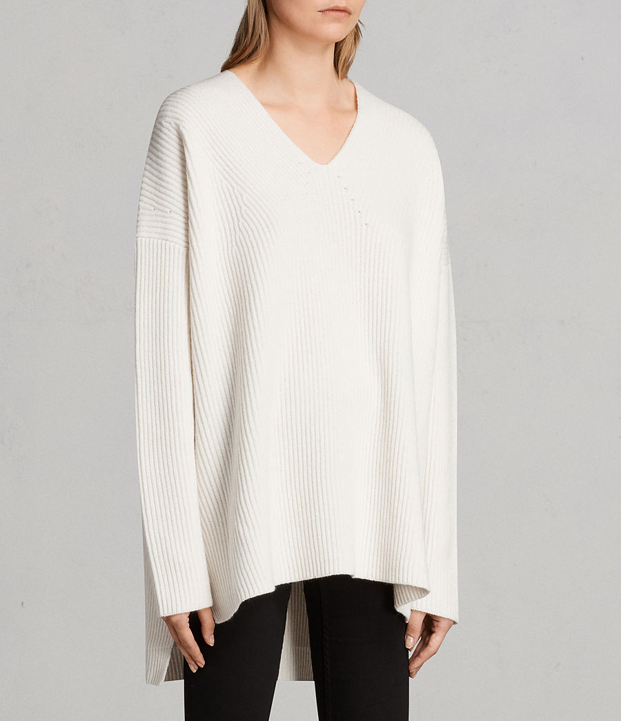 Womens Clea V-neck Sweater (chalk_white) - Image 4