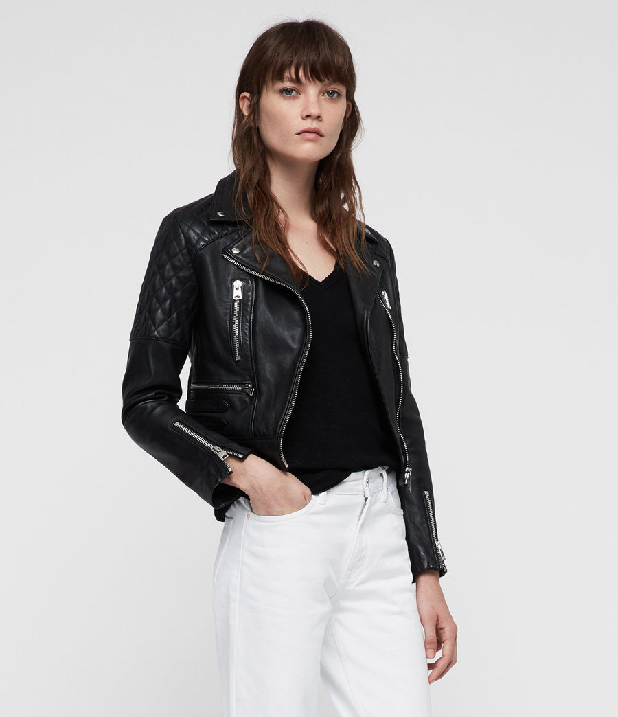 Womens Nysa Leather Biker Jacket (black) - Image 1