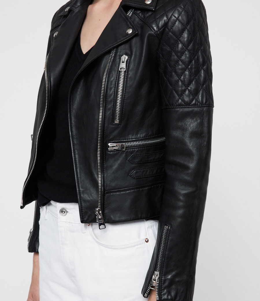 Womens Nysa Leather Biker Jacket (black) - Image 2