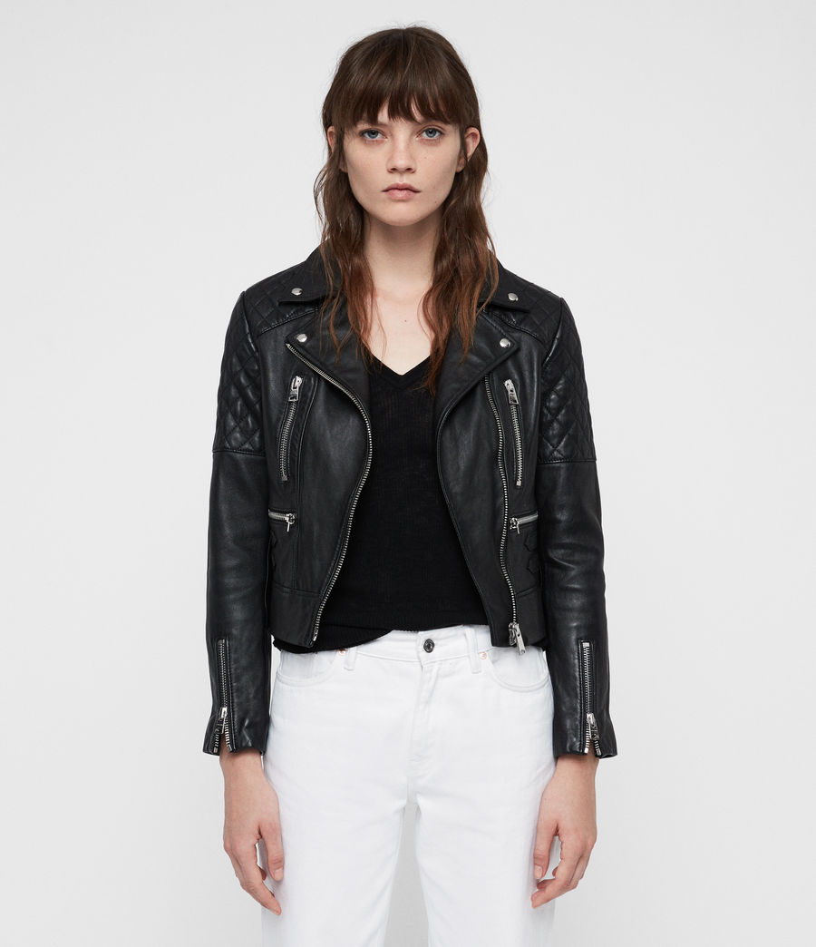 Mujer Nysa Leather Biker Jacket (black) - Image 3