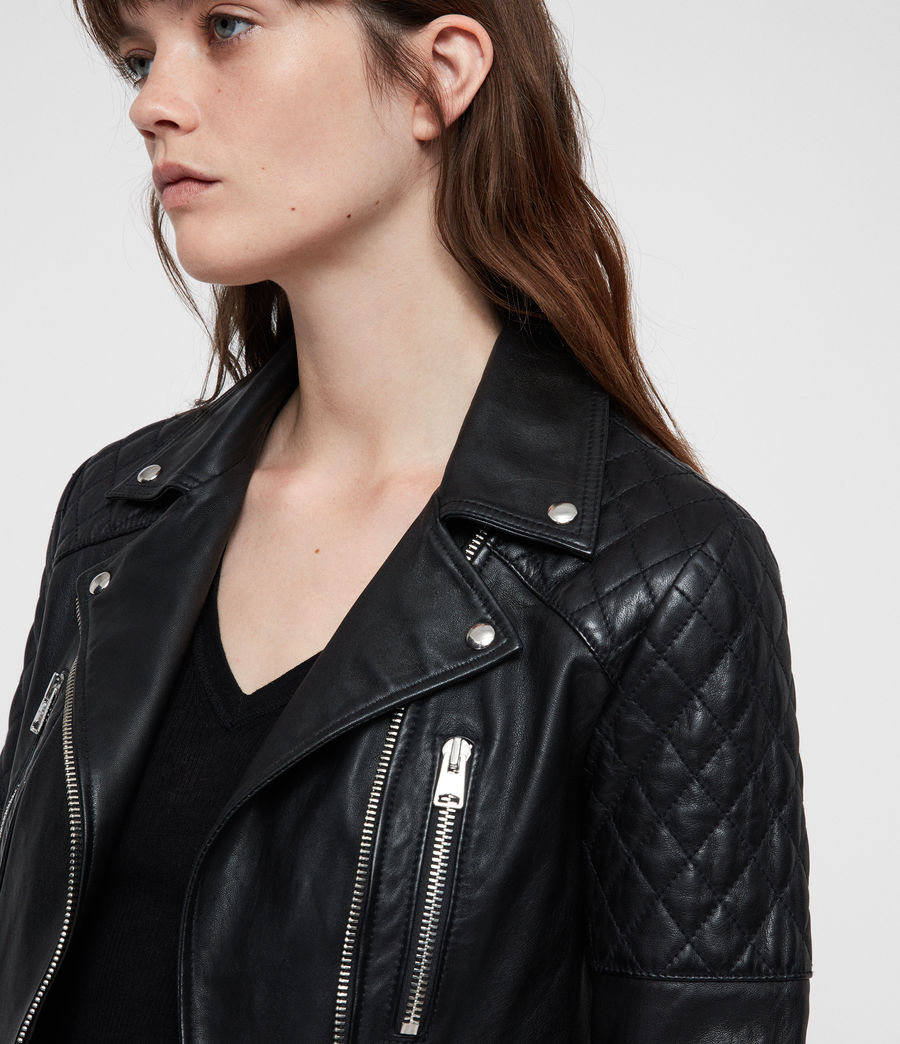 Mujer Nysa Leather Biker Jacket (black) - Image 4