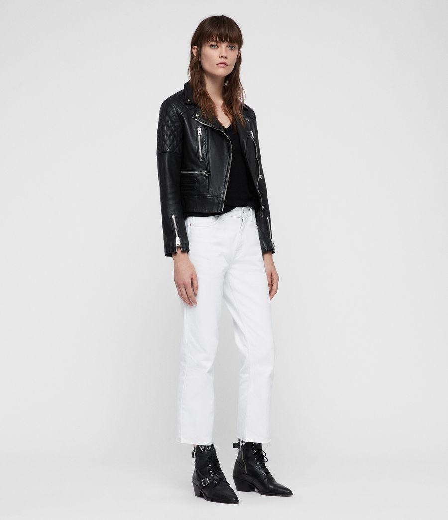 Womens Nysa Leather Biker Jacket (black) - Image 5