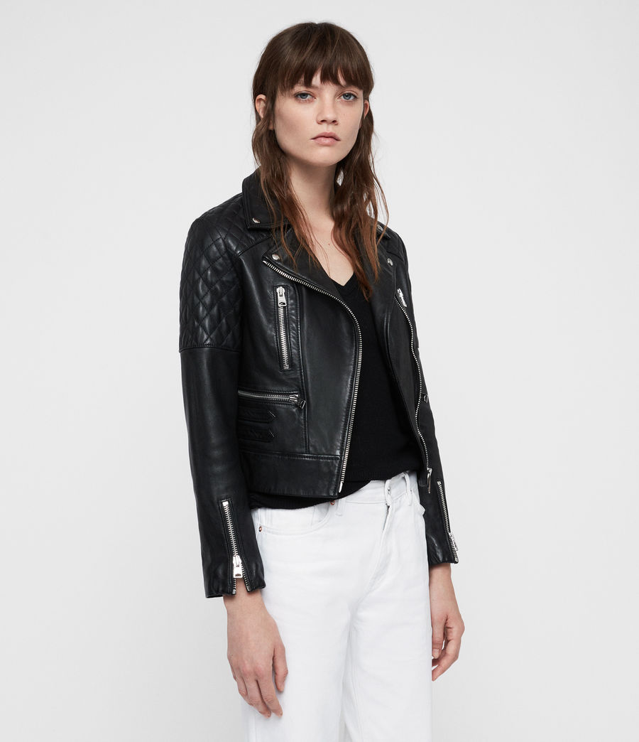 Mujer Nysa Leather Biker Jacket (black) - Image 6