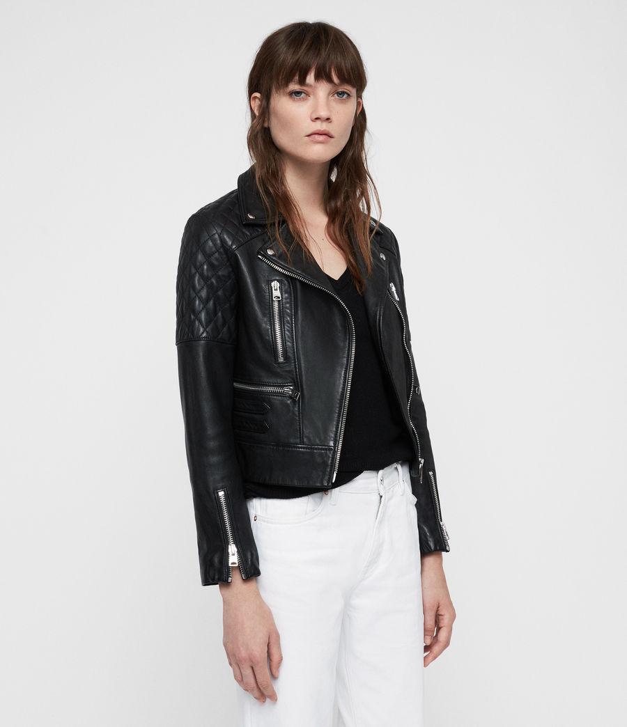 Womens Nysa Leather Biker Jacket (black) - Image 6