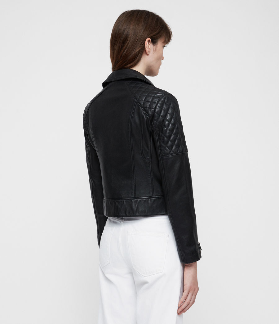 Womens Nysa Leather Biker Jacket (black) - Image 7