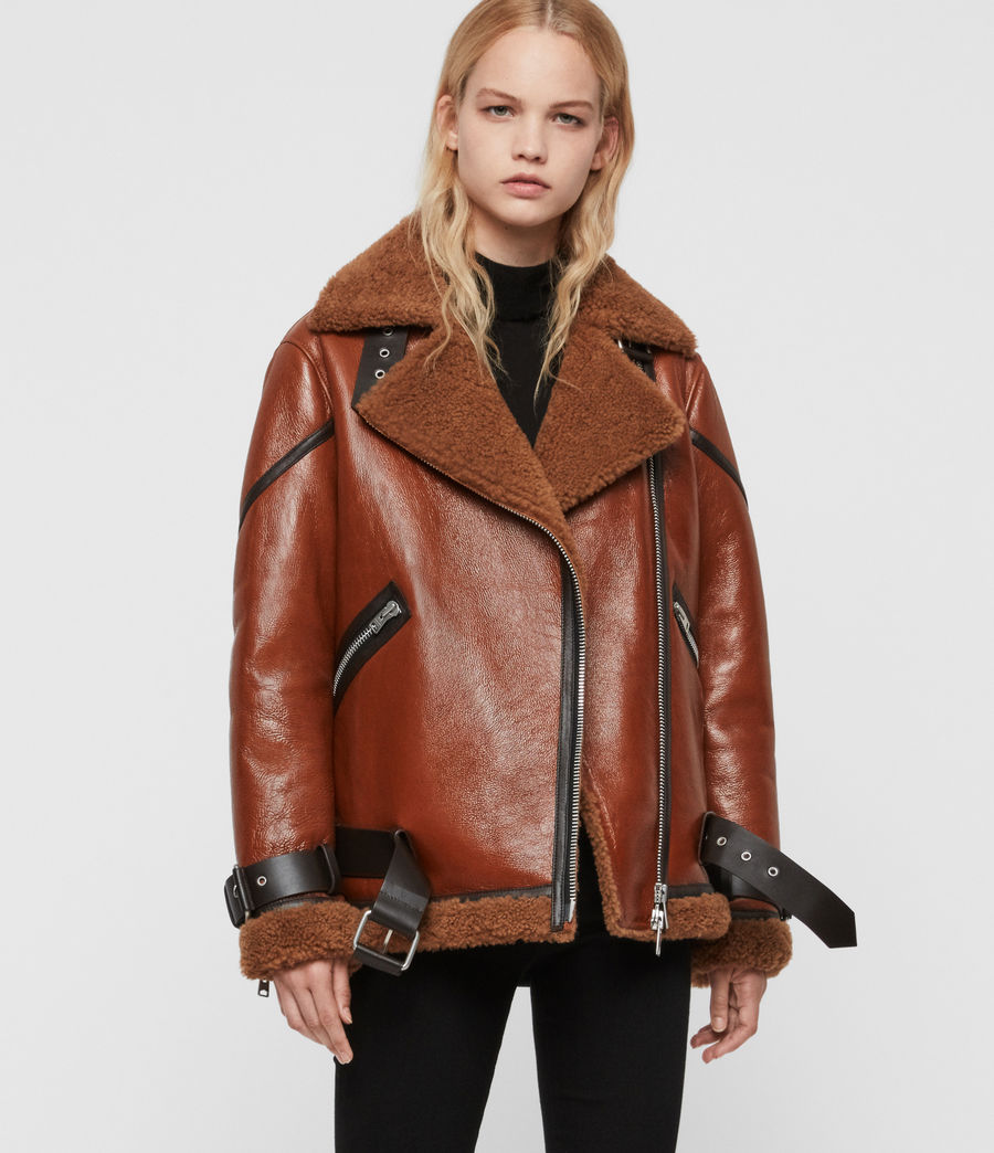 Damen Hawley Shearling Bikerjacke (rust_brown) - Image 1