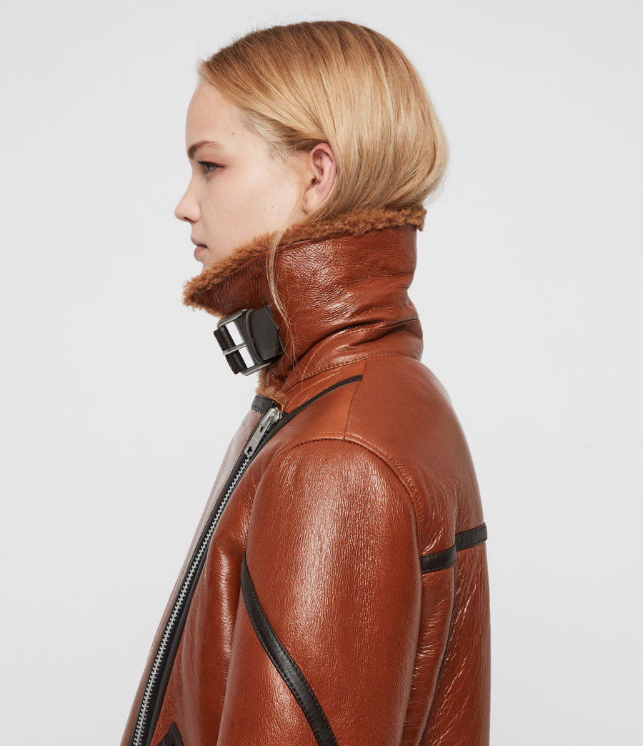 Womens Hawley Shearling Biker Jacket (rust_brown) - Image 2