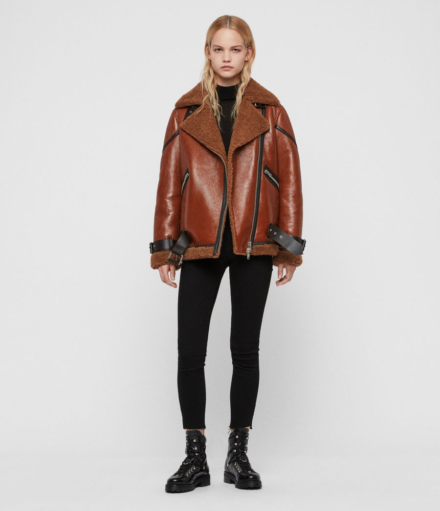 Womens Hawley Shearling Biker Jacket (rust_brown) - Image 3