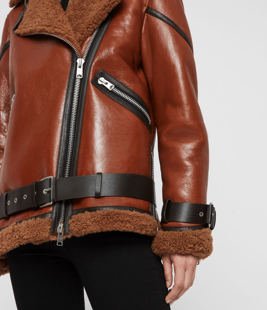 Womens Hawley Shearling Biker Jacket (rust_brown) - Image 4