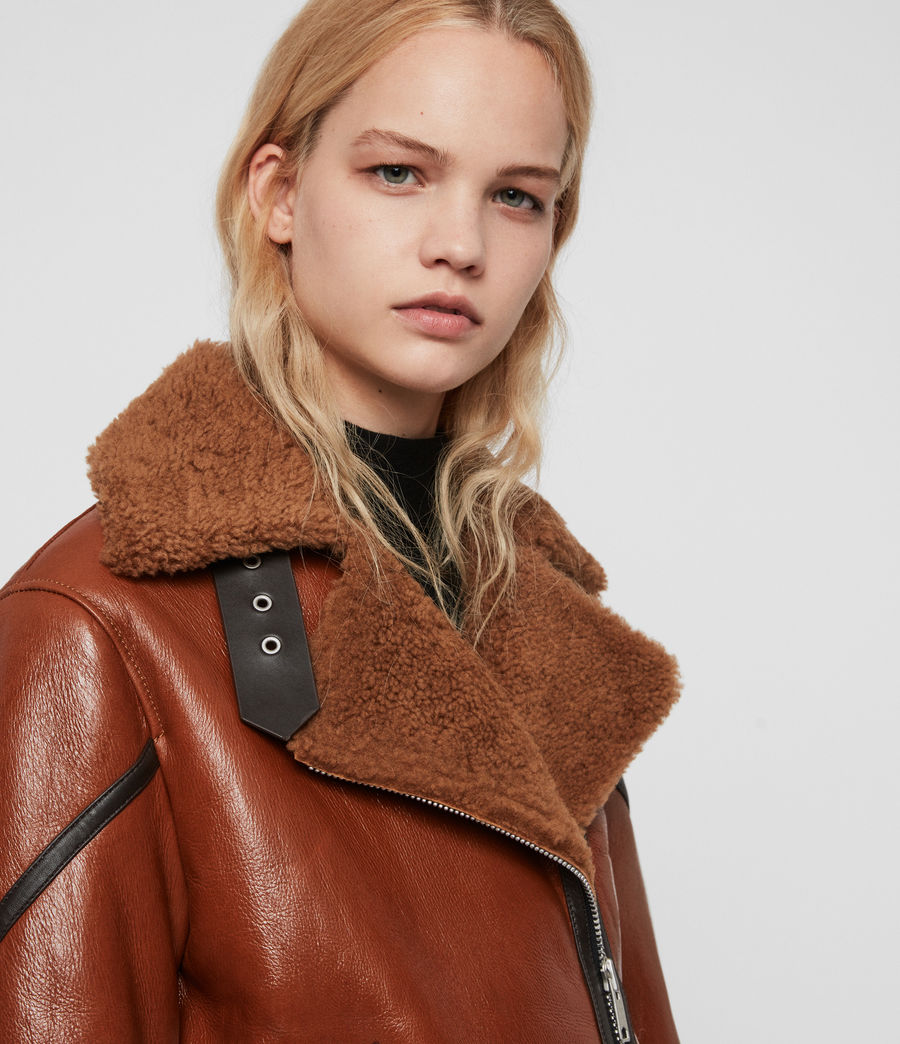 Womens Hawley Shearling Biker Jacket (rust_brown) - Image 5