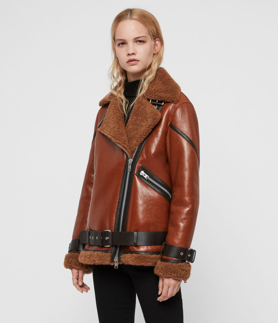 Womens Hawley Shearling Biker Jacket (rust_brown) - Image 6