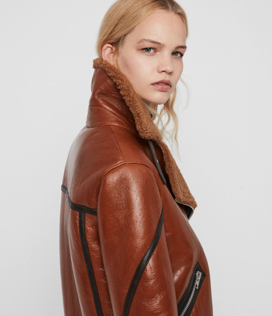 Womens Hawley Shearling Biker Jacket (rust_brown) - Image 7
