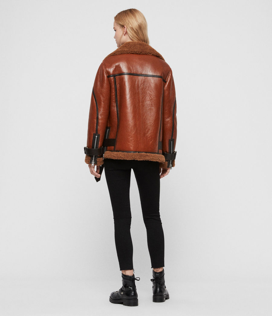 Womens Hawley Shearling Biker Jacket (rust_brown) - Image 8