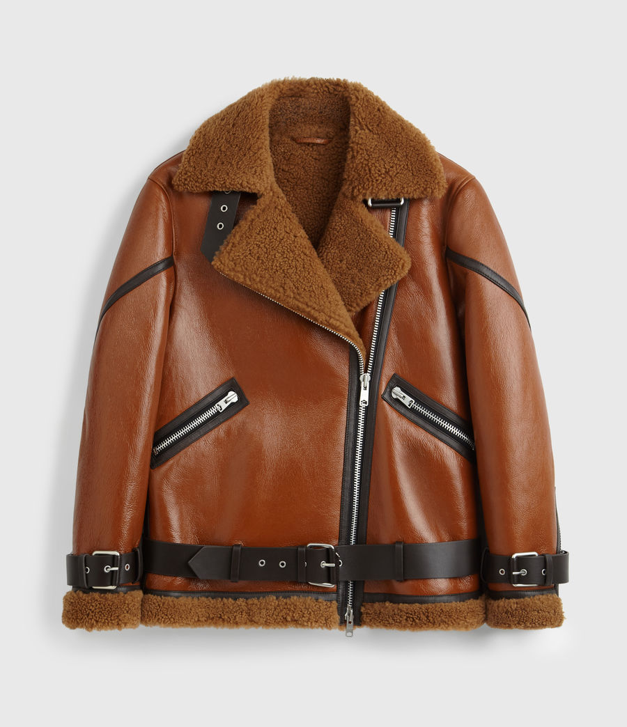 Womens Hawley Shearling Biker Jacket (rust_brown) - Image 9