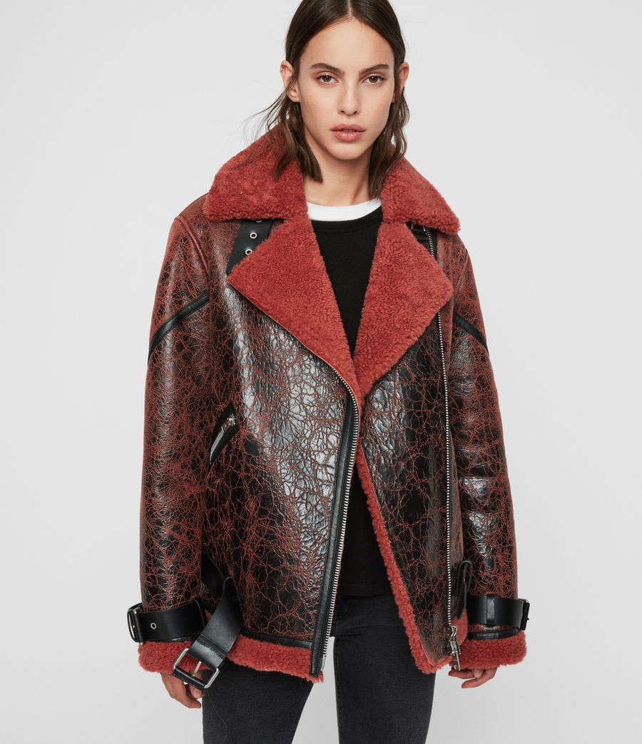 Womens Hawley Shearling Biker Jacket (rust_brown) - Image 1